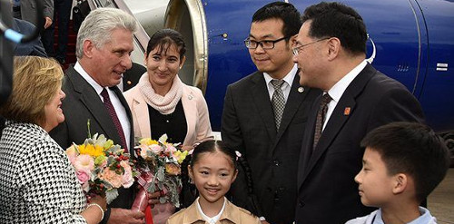 Diaz-Canel arrives in China, visits Shanghai Fa