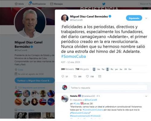 Díaz-Canel felicitó al colectivo del periódico Adelante