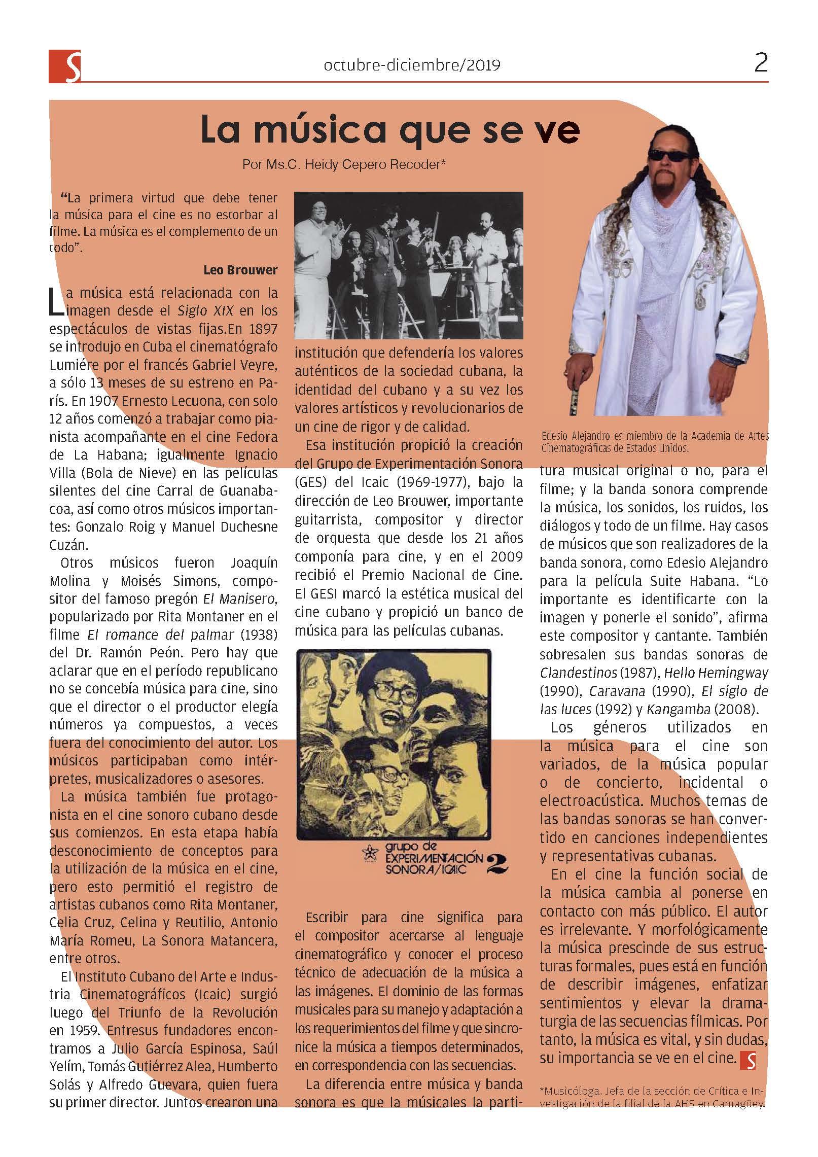 Artículo de Heidy Cepero acerca de la música en el cine, publicado en el más reciente número de Sendas, publicación trimestral de la AHS enCamagüey.